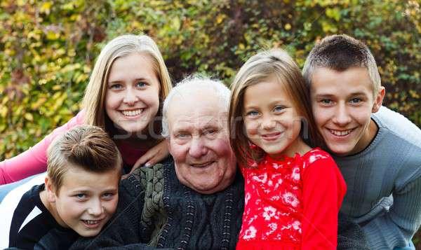 Family visit, joyful moment Stock photo © barabasa