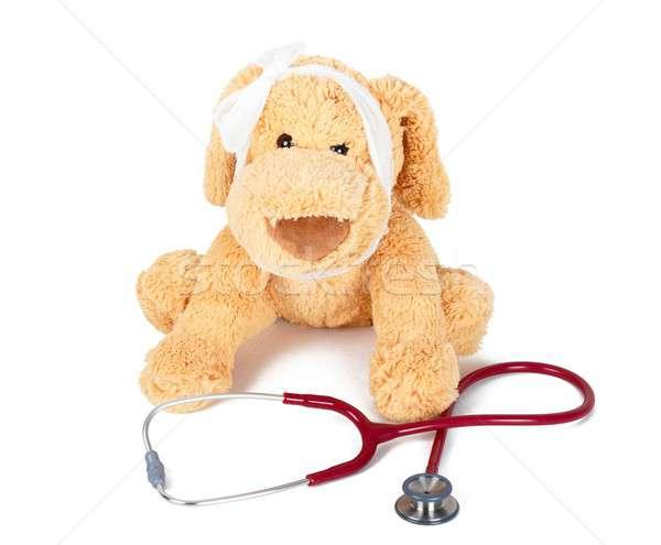 Sick Teddy bear Stock photo © barabasa