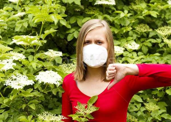 アレルギー 女性 気分が優れない 花 花粉 マスク ストックフォト © barabasa