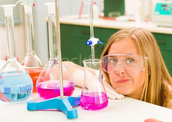 Stok fotoğraf: Hayal · kırıklığına · uğramış · genç · öğrenci · kimya · üniversite · kimyasal