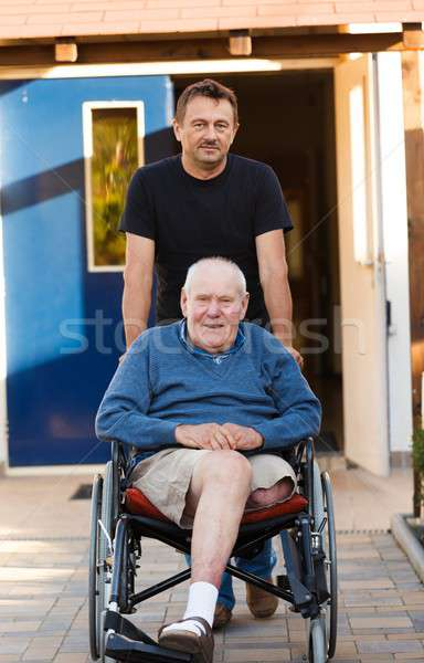 Father and son on a walk Stock photo © barabasa