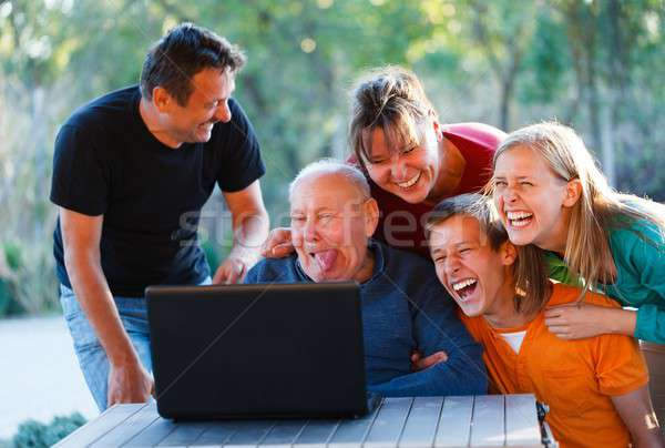 Funny grandpa Stock photo © barabasa