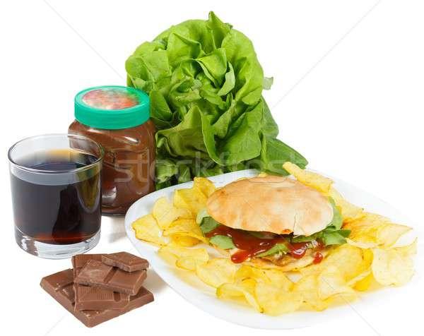 Foto stock: Obesidad · insalubre · estilo · de · vida · causar · alimentos · chocolate