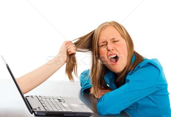 インターネット 依存 若い女性 ライブ 手 ノートパソコン ストックフォト © barabasa