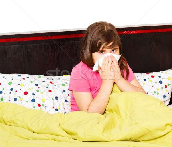 сезонный грипп мало школьница кровать ребенка Сток-фото © barabasa