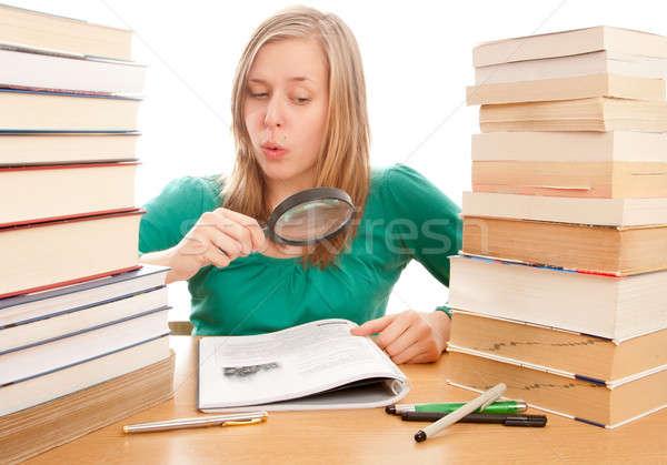 девушки обучения книгах лице Сток-фото © barabasa