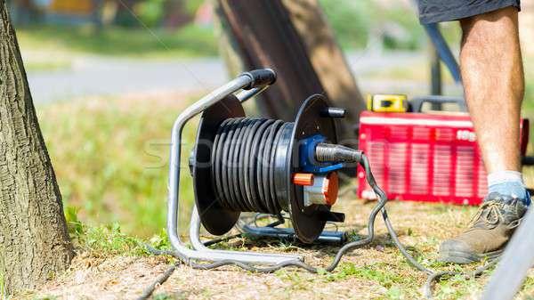 Home productie uitrusting buitenshuis gras koord Stockfoto © barabasa