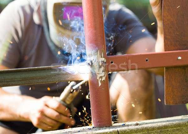 Welding fence metal parts Stock photo © barabasa
