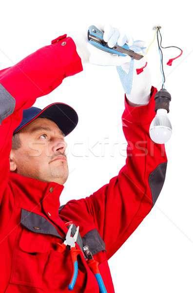 Handyman Working With Cutter Stock photo © barabasa