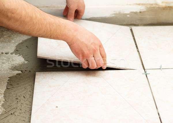Tiling Works Stock photo © barabasa
