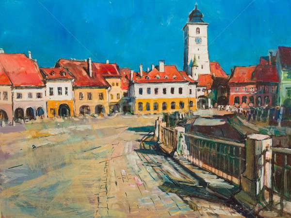 Painting of Sibiu Stock photo © barabasa