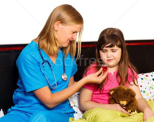 медицина красивой девочку вкус сироп девушки Сток-фото © barabasa