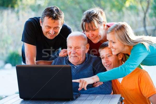 興味深い 教育 祖父 幸せ ストックフォト © barabasa