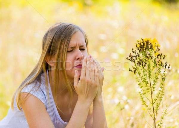 Ahogy tiszta egészséges orr nő szomorú Stock fotó © barabasa