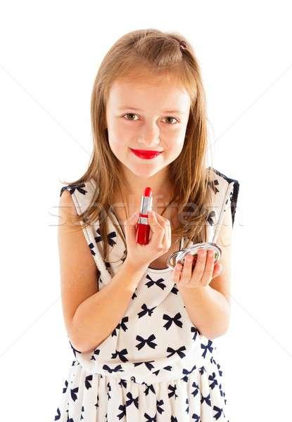 Küçük güzellik portre güzel küçük kız Stok fotoğraf © barabasa