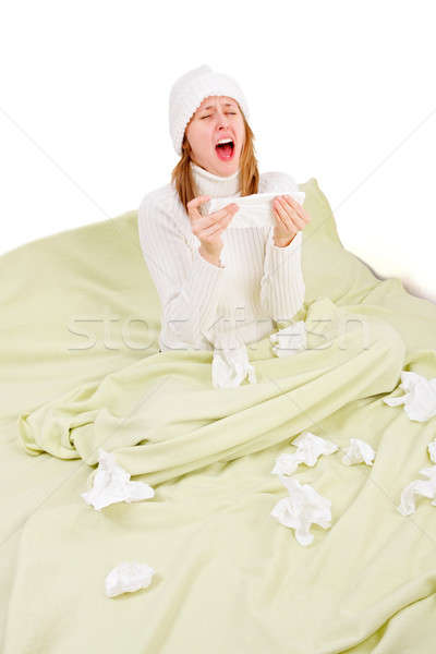 Sick person about to sneeze Stock photo © barabasa