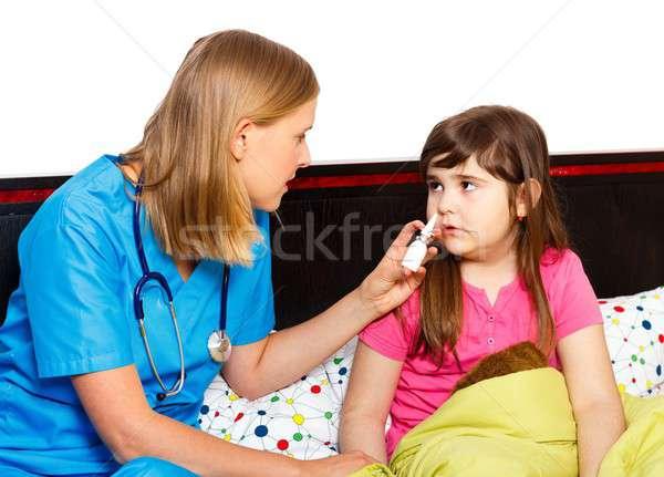 Kicsi orr gyermekorvos spray beteg orvos Stock fotó © barabasa