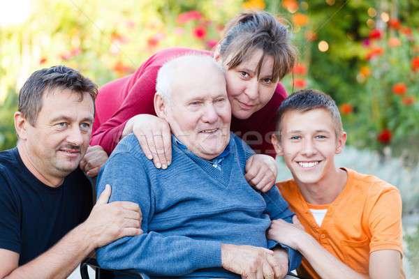 Joyful Family Visit Stock photo © barabasa