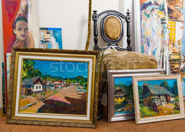 Valuable paintings collection Stock photo © barabasa