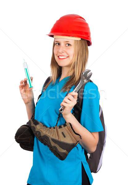 Happy with multitasking Stock photo © barabasa