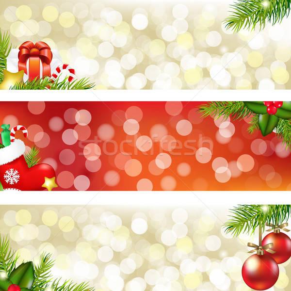 Foto stock: Natal · banners · árvore · fundo · quadro · inverno