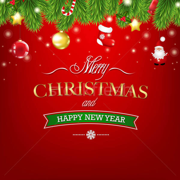 Navidad rojo tarjeta árbol de navidad decoraciones texto Foto stock © barbaliss