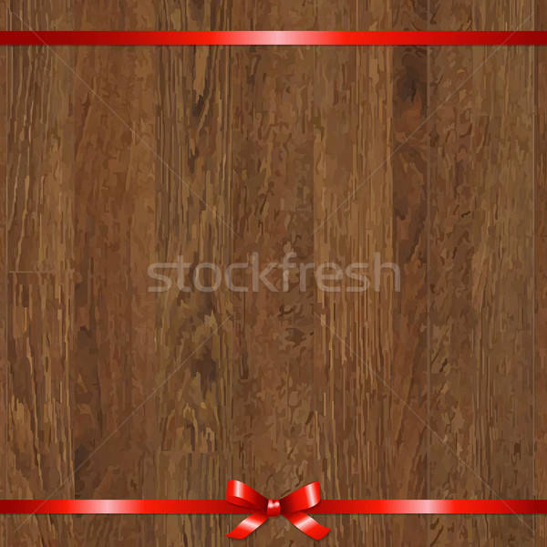 Wood Background With Red Bow Stock photo © barbaliss
