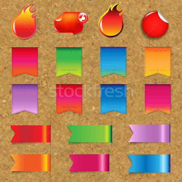 Web Ribbons And Labels Big Set With Cork Stock photo © barbaliss