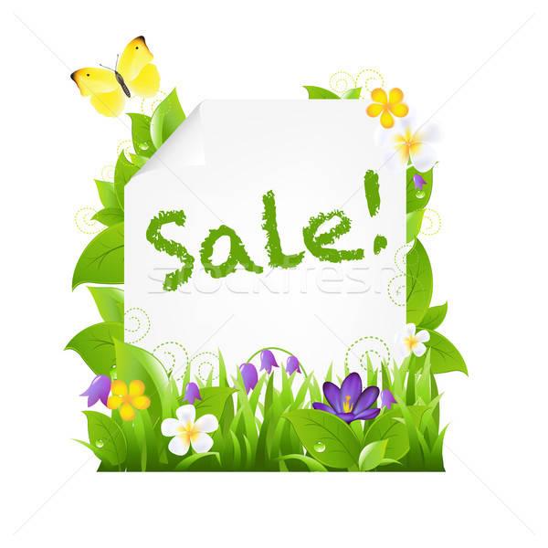 Verkauf Banner Blumen Blätter isoliert braun Stock foto © barbaliss