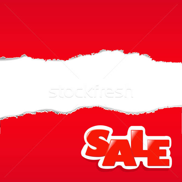 Red Torn Paper Borders Sale Background Stock photo © barbaliss