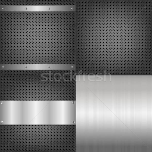 Metal And Aluminum Backgrounds Set Stock photo © barbaliss