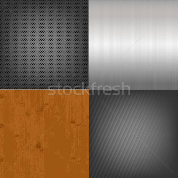 Set Of Metal And Wood Texture Background Stock photo © barbaliss