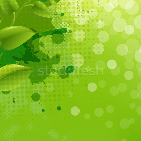Green Nature Background With Blur Blob And Leaf Stock photo © barbaliss