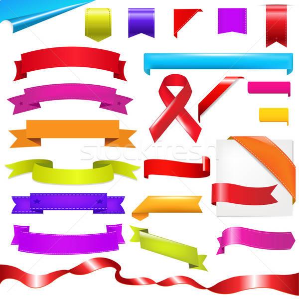 Szín szett szalagok izolált fehér zászló Stock fotó © barbaliss