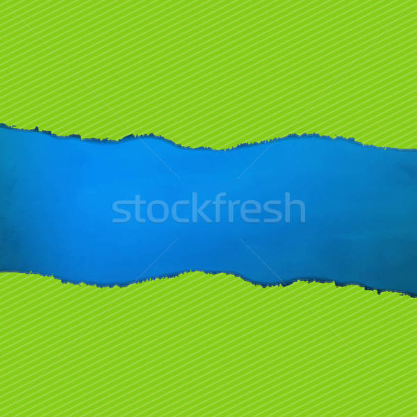 Blue Texture With Green Rip Paper Stock photo © barbaliss