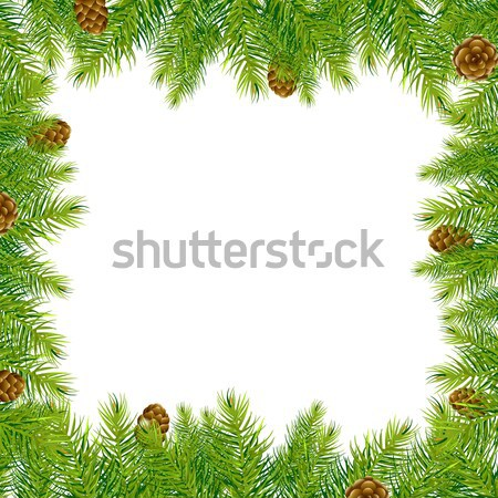Frame With Christmas Tree And Pine Cone  Stock photo © barbaliss