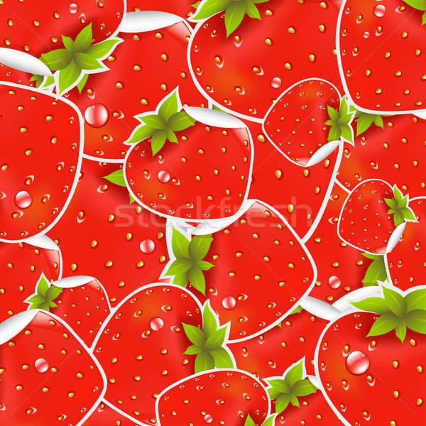 Címkék eper papír textúra levél gyümölcs Stock fotó © barbaliss