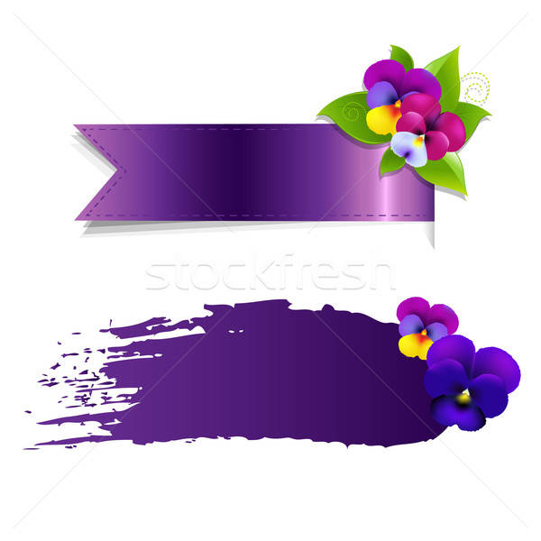Blob And Ribbon Banner With Flowers Stock photo © barbaliss