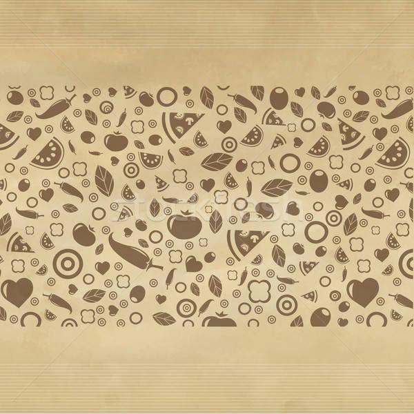 Klasszikus étterem ikonok papír textúra szív Stock fotó © barbaliss