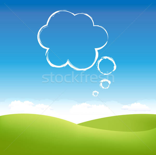 Wolk hemel lucht grasveld vrouw voorjaar Stockfoto © barbaliss