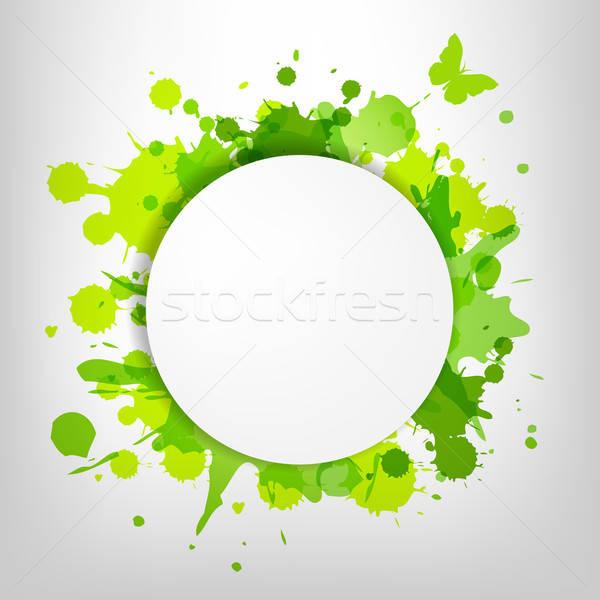 Sprechblase grünen Schmetterling Blatt Rahmen Drop Stock foto © barbaliss