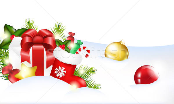 Navidad plantilla árbol fondo marco invierno Foto stock © barbaliss
