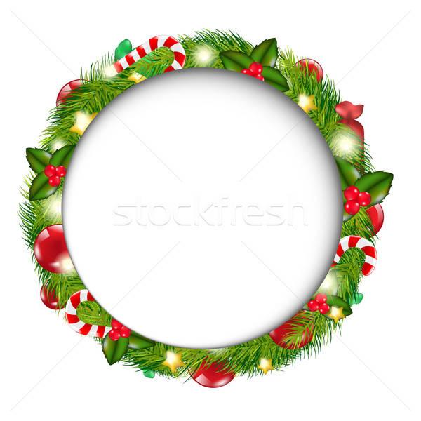 Vidám karácsony szövegbuborék koszorú izolált fehér Stock fotó © barbaliss