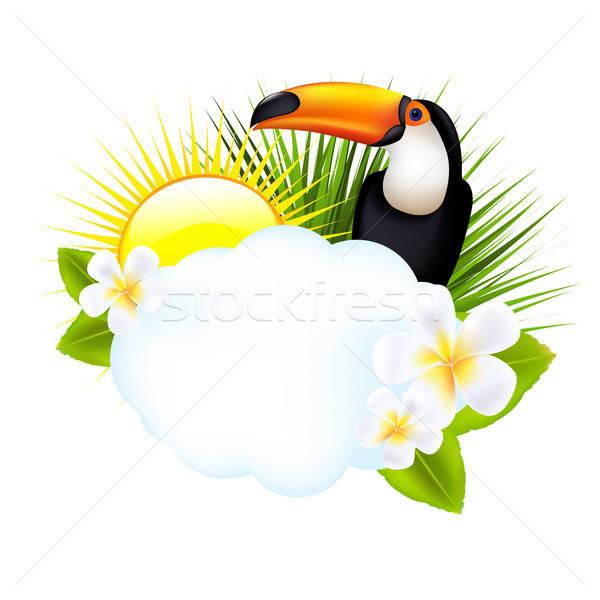 Tropische illustratie geïsoleerd witte strand zee Stockfoto © barbaliss