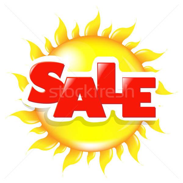 Zon poster verkoop geïsoleerd witte papier Stockfoto © barbaliss