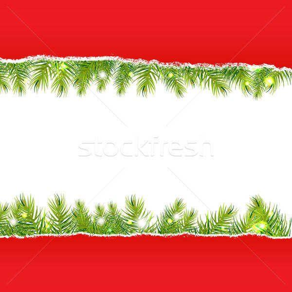 Stock photo: Rip Paper With New Years Fir Tree