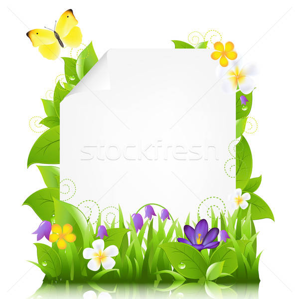 Paper With Flowers And Leaves Stock photo © barbaliss