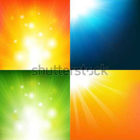 Abstract Color Sunburst Banner Set Stock photo © barbaliss