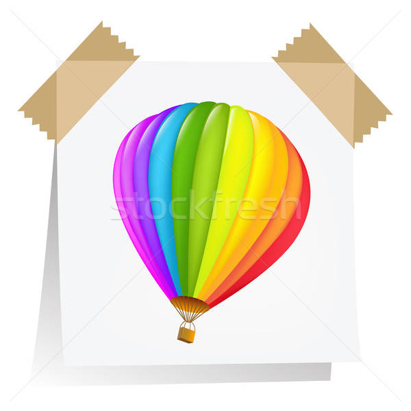 Notes Paper With Air Balloon Stock photo © barbaliss