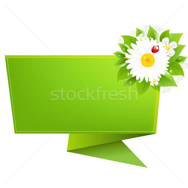 Origami lieveheersbeestje geïsoleerd witte bloem abstract Stockfoto © barbaliss